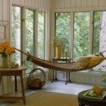 Hammock in house with pillows