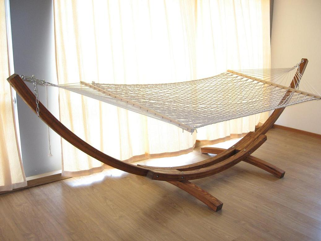 Wooden Hammock Stand In House