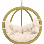 Globo Chair, natural cushion on white-L